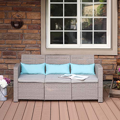 COSIEST Open-Weave Wicker Patio Bench seat, Taupe Outdoor Furniture Sectional Sofa w Warm Gray Cushions, 3 Turquoise Lumbar Pillows for Garden, Porch, Backyard