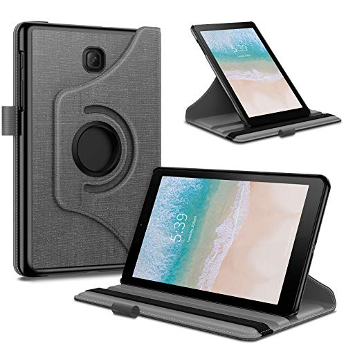 Infiland Samsung Galaxy Tab A 8.0 2018 Case, 360 Degree Rotating Case Cover Compatible with Samsung Galaxy Tab A 8 Inch 2018 Release Model T387 Tablet Verizon/Sprint/T-Mobile/AT&T, Gray