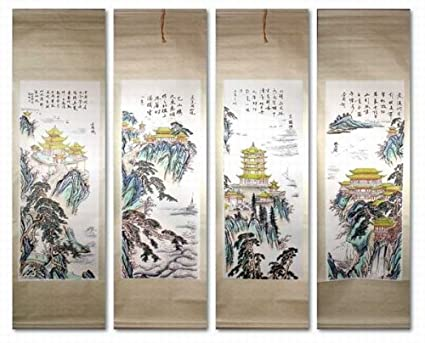 amazon com set of 4 medium hand painting chinese scroll art