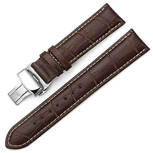 iStrap 20mm Calf Leather Stitched Replacement Watch Band Push Button Deployment Buckle Strap Brown