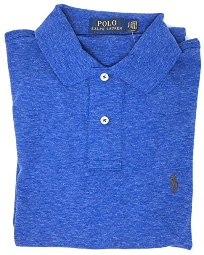 Polo Ralph Lauren Men Medium Fit Interlock Polo Shirt (XL, Blue Heather) (Interlock Embroidered)