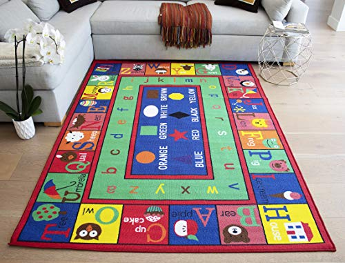 LA Inner Rectangular Alphabet Round Set with Animals Fruits Shapes Alphabet 5-Feet-by-7-Feet Polyester Made Kids Unisex Area Rug Carpet Rug Green Blue Multicolor