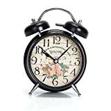 Chaomian Home Ornaments 6.4''x4.6''x2.2'' Metal Twin Bell Alarm Clock,with Nightlight,glass on Front,Battery Operated (Welcome)