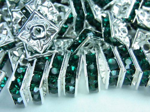 Rondell Square [silver frame dark green] [6mm] about 100 pieces (japan (6 Mm Square Green)