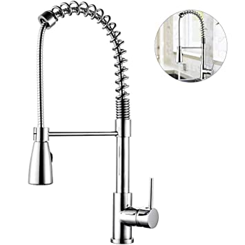 Kitchen Faucet With Pull Out Sprayer Single Handle Lead Free Solid