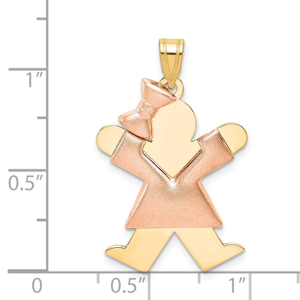 Solid 14k Two Tone Puffed Girl with Bow on Left Engravable Charm Pendant 30mm x 20mm