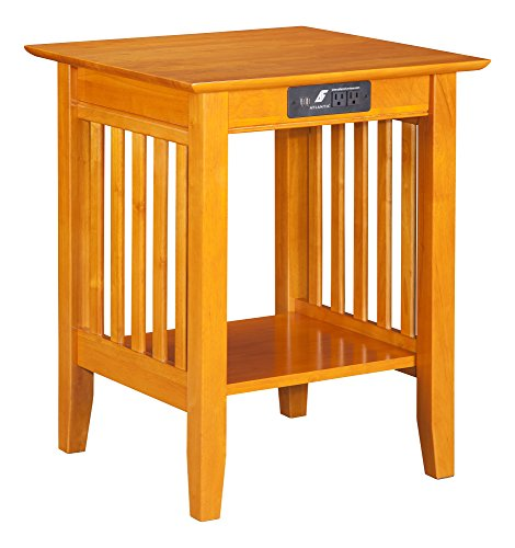 Atlantic Furniture Mission Printer Stand with Charging Station, Caramel Latte