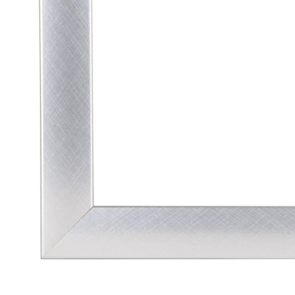 Bilderrahmen OLIMP 90x120 oder 120x90 cm in ALU CRISS CROSS (ALU GEBÜRSTET) AntiReflex Kunstglas und Rückwand, 35 mm breite MDF-Leiste mit Dekor Folienummantelung