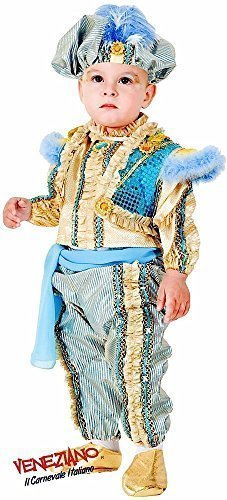 Deluxe Italian Made 6 Piece Baby Toddler Boys Arabian Genie Eastern Prince Around The World Fancy Dress Costume Outfit 0-36 Months (2 -