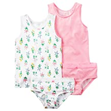 Carter's Girl's 4-Pack Stretch Cotton Undershirts & Panties (2/3 Toddlers, Dot Pink/Herbal/White/Pink)