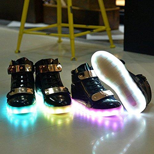(Present:kleines Handtuch)JUNGLEST® 7 Farben LED Leuchtend Aufladen USB Aufladen Sport Schuhe Paare Schuhe Herbst und Winter Sport Schuhe Freizeitschuhe Leucht Laufende Unis Schwarz