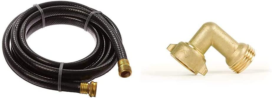 Suncast Outdoor Garden Hose Extension 10 Feet - for Industrial or Domestic, Black & Camco (22505) 90 Degree Hose Elbow- Eliminates Stress and Strain On RV Water Intake Hose Fittings, Solid Brass