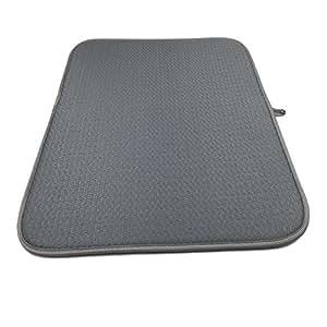 Patty tanto 16× 18cm alfombrilla de microfibra plato secado alfombrilla, cocina, microfibra absorbente lavable, Gray