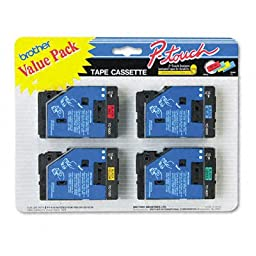 Brother P-Touch TC Tape Cartridges for P-Touch, 1/2w, Black on Red/Blue/Yellow/Green, 4/Pack