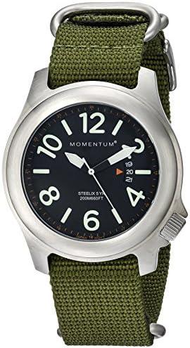 Momentum Men s Field Series Quartz Watch Steelix Black Dial, Water Resistant, Solid 316L Brushed Stainless Steel, Easy to Read Numbers, Date, Screw Crown Japanese Mvmt, Analog