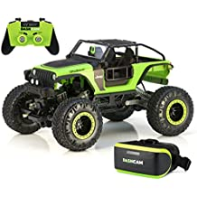 New Exciting Tough Durable Easy Care Bright 1:14 RC Dash Cam Rock Crawler GREEN/BLACK Take Pictures And Videos As You Go COOL VR Headset INCLUDED! - Head Out For A New Adventure