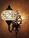 Turkish Moroccan Mosaic Tiffany Glass and Metal Wall Light Sconce Lamp (Turkish Rug)