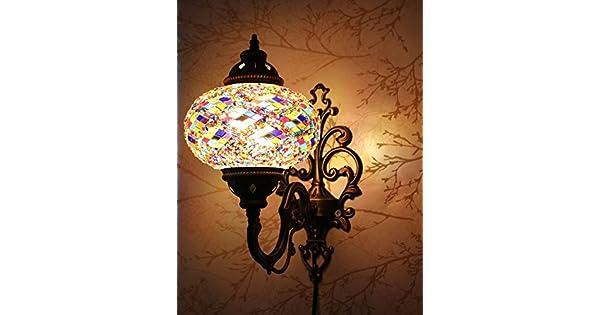Amazon.com: Turco marroquí mosaico de vidrio y metal Lámpara ...