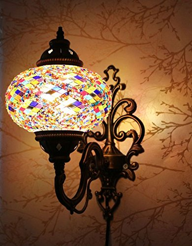 Light Sconce Mosaic (Turkish Moroccan Mosaic Tiffany Glass and Metal Wall Light Sconce Lamp (Turkish Rug))
