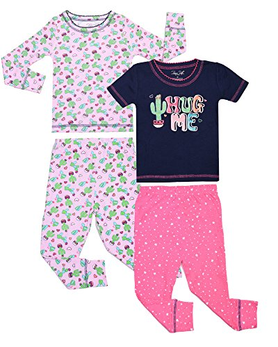 Rene Rofe Baby Girls 4-Piece Snug Fit Cotton Pajama Set, Hug Me, Size 12 Months