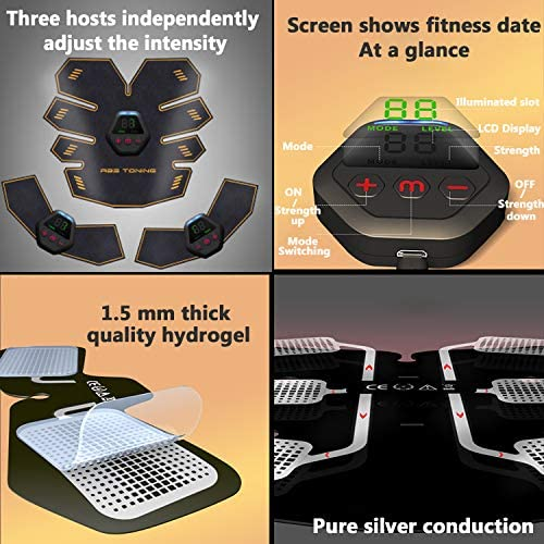 UMATE Abs Stimulator Muscle Toner, Portable Muscle Trainer,Abdominal Trainer,Abdominal Muscle Toner Fitness Training Gear with LCD Display for Men/Women 2