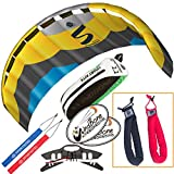HQ Symphony Pro 2.2 Kite Edge Yellow Blue Bundle (3 Items) + Peter Lynn Heavy Duty Padded Kite Control Strap Handles Pair + WindBone Kiteboarding Lifestyle Stickers