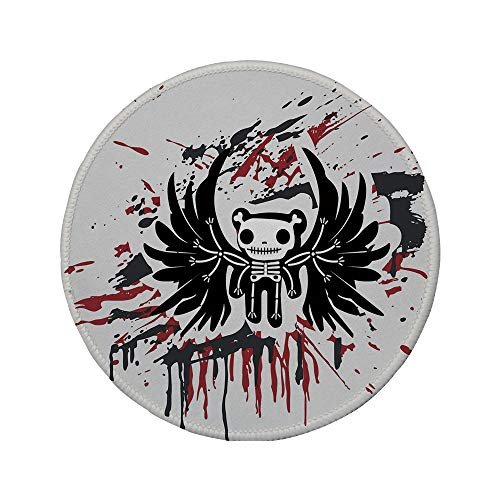 Non-Slip Rubber Round Mouse Pad,Halloween,Teddy Bones with Skull Face and Wings Dead Humor Funny Comic Terror Design,Pearl Black Ruby,11.8