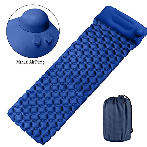 Tobfit Camping Sleeping Pad - Ultralight Inflatable Backpacking Air Mattress with Pillow - Sleeping Mat for Camping, Hiking - New Patent Manual Inflating Air Pump & Compact Carrying Bag (Navy Blue)