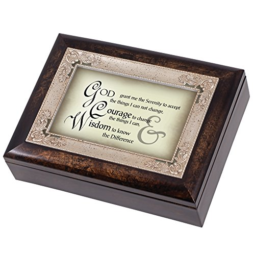 The Serenity Prayer Dark Wood Finish Jewelry Music Box Plays Tune Amazing Grace