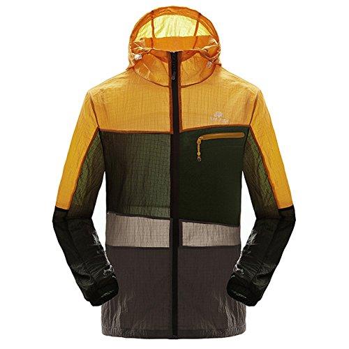 Micmall Men's Super Lightweight Jacket Quick Dry Windbreaker UV Protect Coat Light Orange XL