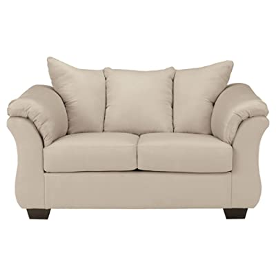 Ashley Furniture Signature Design   Darcy Love Seat   Contemporary Style  Microfiber Couch   Stone