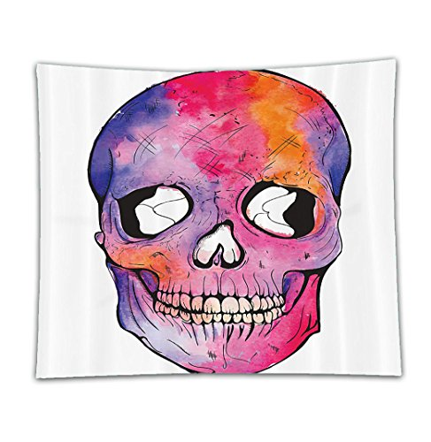 Images Of Day Of The Dead Costumes (Beshowereb Fleece Throw Blanket Beshowereb Fleece Throw Blanket Beshowereb Fleece Throw Blanket Skull Decorations Funny Figure Cranium Pattern with Cracks Day of the Dead Danger Terror Image Decor)