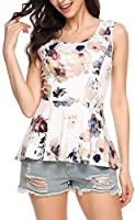 Meaneor Women Floral Printed Sleeveless Flowy Top Hi-low Babydoll Peplum Top