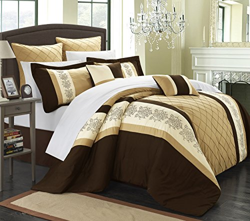 Gold Queen Comforter - Chic Home 8 Piece Livingston Comforter Set, Queen, Gold