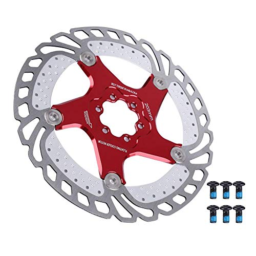 VGEBY1 Bike Cooling Rotor, Stainless Steel Bicycle Hydraulic Disc Brake Rotor Cooling Floating Rotor Bike Accessory(203mm)