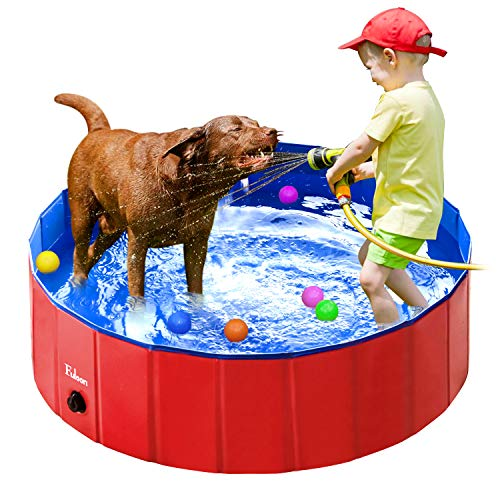 (Fuloon PVC Pet Swimming Pool Portable Foldable Pool Dogs Cats Bathing Tub Bathtub Wash Tub Water Pond Pool & Kiddie Pools for Kids in The Garden, (120 x 28cm(47.2inch.D x 11inch.H), Red) )