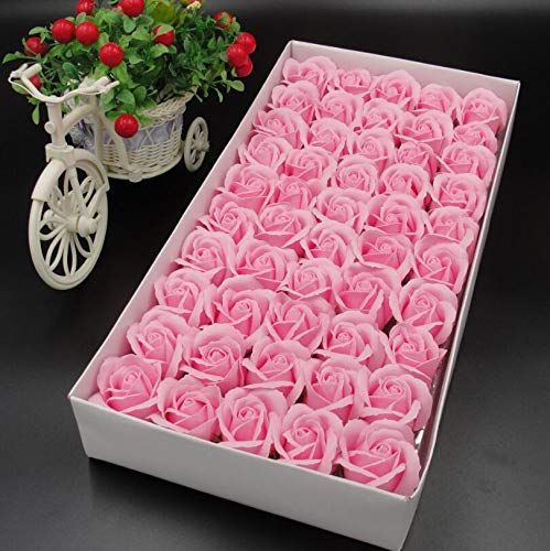 LOVESHI 50PCS/Box Artificial Flowers Scrapbooking Rose Soap Flower Head DIY Gift for Valentine's Day Mother's Day Wedding Home Decor 2 Pink