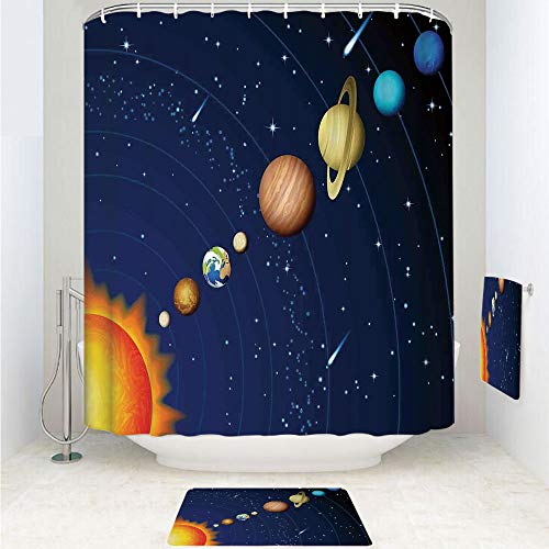 iPrint Polyester Fabric Bathroom Shower Curtain Set with Hooks,Venus Jupiter Mars Pluto Saturn Neptune Image,3pcs Set with Shower Curtain Bath Towel Non-Slip mat for Home Decor Bathroom