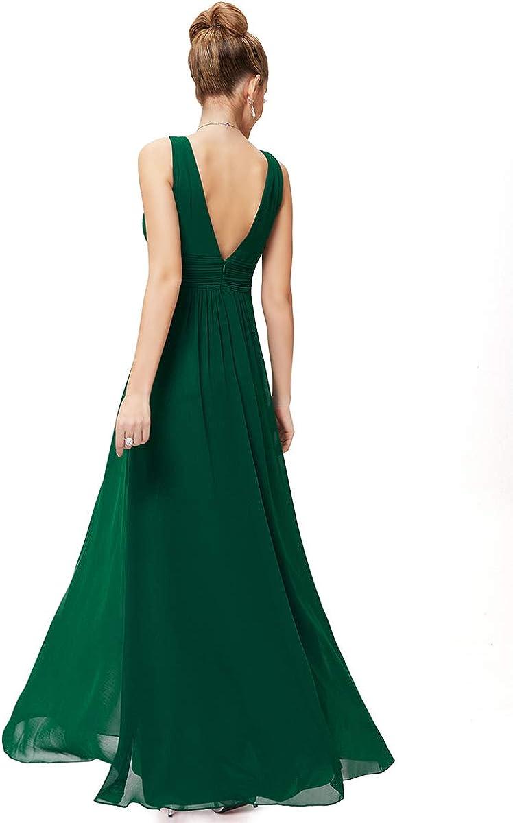 Ever-Pretty Escote en V Vestido de Fiesta Noche Largo para Mujer Corte Imperio 08110