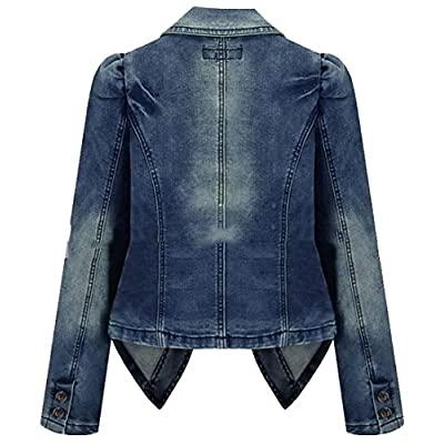 Papijam Women's Classic Lapel Two Button Denim Blazers Jacket Coat