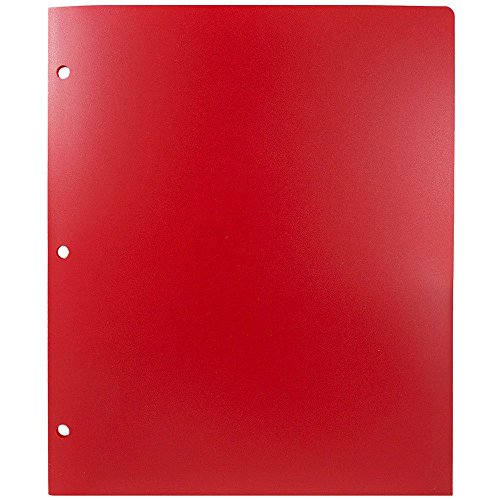 JAM Paper Heavy Duty Plastic 2 Pocket 3 Hole Punched School Presentation Folder - Red - Sold Individually