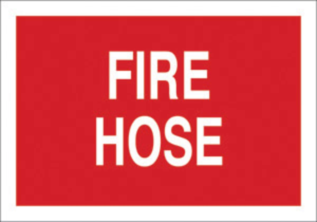 Brady 10'' X 14'' X 1/10'' White On Red .0984'' B-120 Fiberglass Fire Hose Sign''FIRE HOSE''