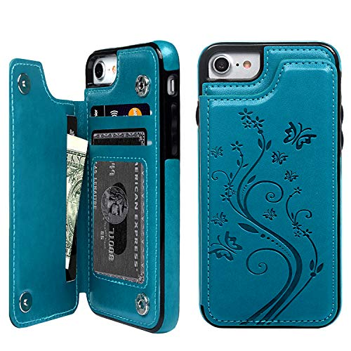 SUPWALL iPhone 7 Card Holder Case, iPhone 8 Wallet Case Embossed Butterfly Slim Folio Leather Cover Shockproof Shell with Credit Card Slot Protective Skin for iPhone 7 & 8,Blue (Best Iphone Folio Case)