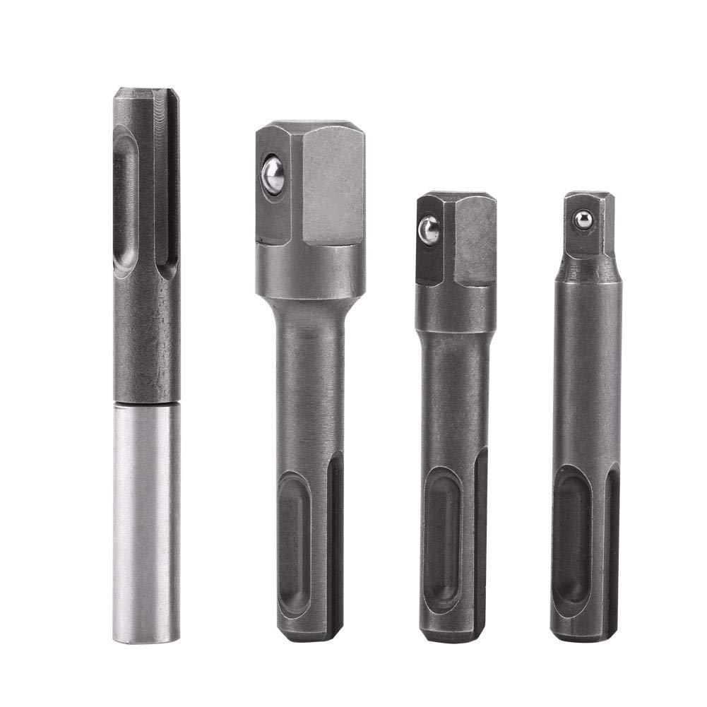 Connecteur d'extension de support de foret Akozon, tige SDS Plus à adaptateur femelle 1/4'et connecteur d'extension carré 1/4' 3/8'1/2' tige SDS Plus à adaptateur femelle 1/4et connecteur d'extension carré 1/4 3/81/2
