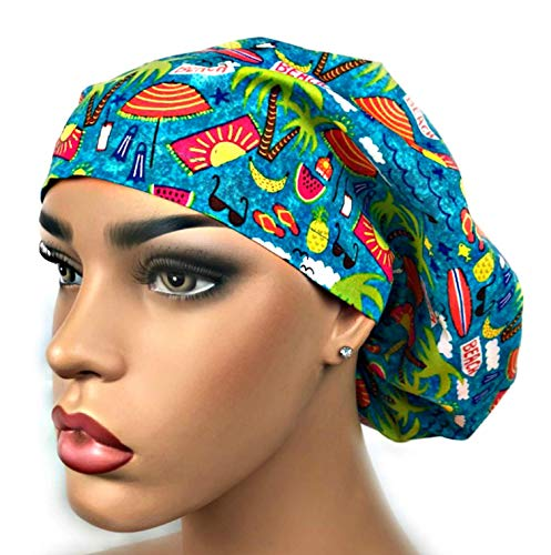 Euro Surgical Scrub Hats Women's Beach Life Cap Adjustable Bouffant