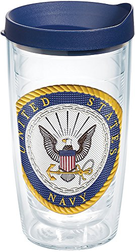Tervis 1282387 Navy Classic Seal Flex Tumbler with Emblem and Navy Lid 16oz, Clear
