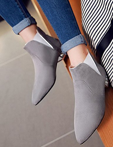 Easemax Women's Comfy Pointy Toe Low Block Heeled Faux Suede Pull On Short Ankle High Martin Boots Grey bYZMq