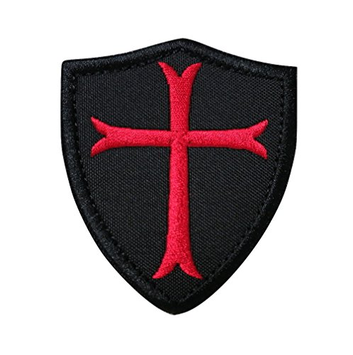 Knights Embroidered Hat - Knights Templar Cross Shield Military Morale Tactical Embroidered Velcro Patch