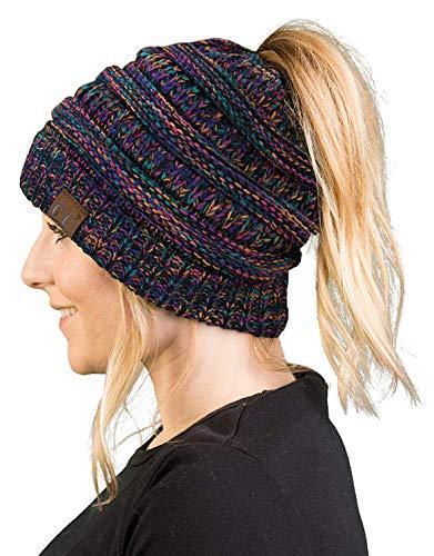 BT-6800-620608 Messy Bun Womens Winter Knit Hat Beanie Tail - Kaleidoscope
