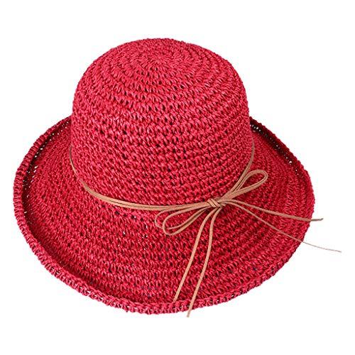 - YJYdada Spring and Summer Beach Cap Women Straw Fisherman Hat Sun Hat (red)